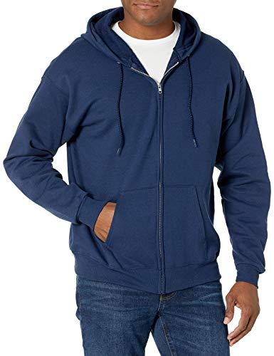 Hanes Men's Big and Tall Full-Zip Eco-Smart Fleece Hoodie, Navy, 3X-Large