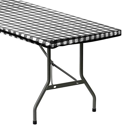 Sorfey Indoor/Outdoor Vinyl Elastic Edge Fitted Tablecloth Cover. Checkered Design, Flannel Backed Leak Proof Lining, Easy to Clean. Stretched to Fit 96 x 30 Inch Rectangle Table, Black
