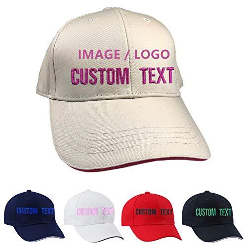 BIHU MVCEN Gorra de Béisbol Personalizada, Gorra de Béisbol Personalizada Bordada, Gorra de Béisbol Suave Texto Personalizado para Hombres y Mujeres (Caqui)