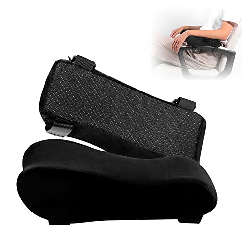 Chair Armrest Pads, Widen & Thicken Ergonomic Chair Arm Pads with Memory Foam for Office Chairs, Gaming Chair - for Elbows and Forearms Pressure Relief (2 Pack)