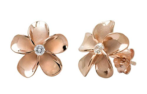 14K Rose Gold Plated Stering Silver Cz Plumeria Stud, No Color, Size No Size 14k Gold Hawaiian Flower