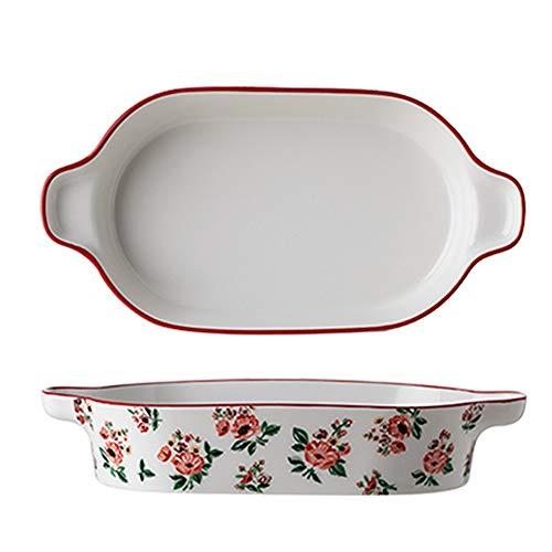 Four à la table Cocotte Set -Céramique cuisson vaisselle for la cuisine Servir Lasagne Pan Ustensiles for cuisson casseroles (Color : Rectangular)