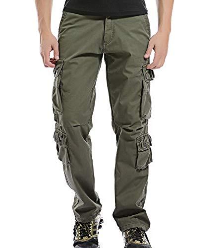 AYG Warm Velour Hose Herren Cargo Hose(army green,34)