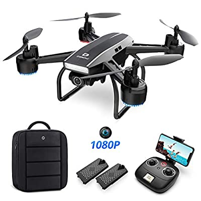 DEERC Drone with Camera for Adults 1080p Full HD FPV Live Video 120° Wide Angle, Altitude Hold, Headless Mode, Gesture Control, Waypoint Fly Functions RC Quadcopter with 2 Batteries and Backpack