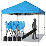 MEWAY 10ft Patio Awning Garden Shade Commercial Ez Pop Up Canopy Tent Instant Canopy Party Tent Sun Shelter with Wheeled Bag,x4 Canopy Sandbags,x4 Tent Stakes (Blue)
