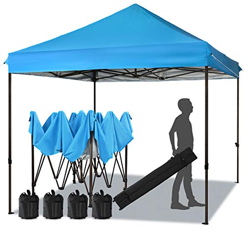 MEWAY 10ft Patio Awning Garden Shade Commercial Ez Pop Up Canopy Tent Instant Canopy Party Tent Sun Shelter with Wheeled Bag,Flea Market Tent (Sky Blue)