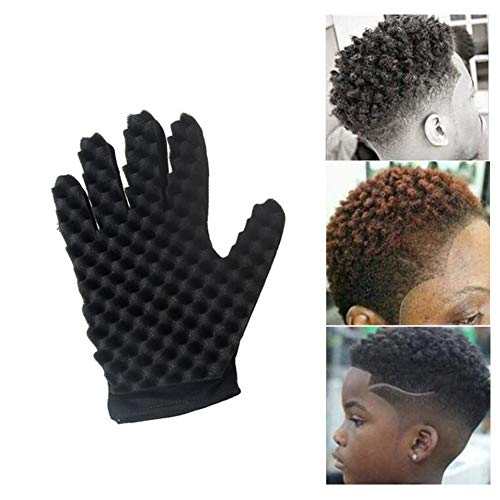 Surenhap Bouclés Cheveux Gants Magiques Éponge Gants Barber Vague Cheveux pour Unisexe Durable Réutilisable