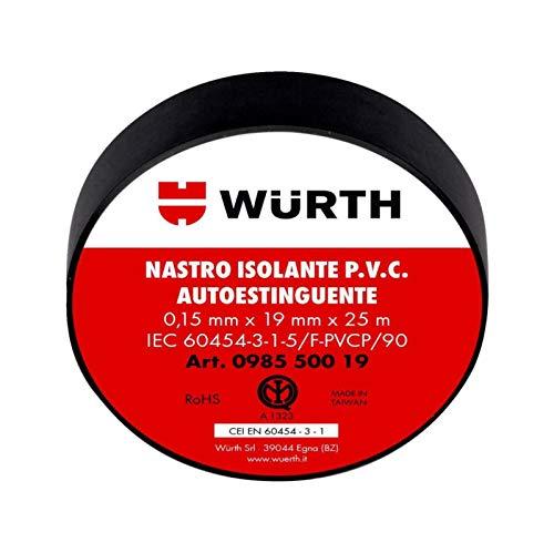 10 Nastro Isolante Nero 19mm x 25m x 0,15 mm WURTH 098550019 PVC Autoestinguente IEC RoHS Adesivo elettrico elettricista 19x25 mm/m