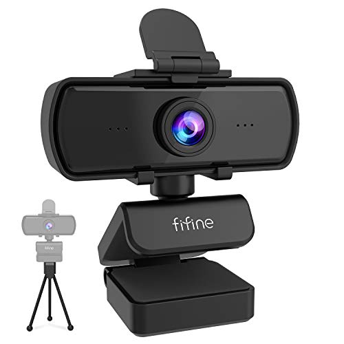 Fifine Webcam 1440P, 2K Computer Web Camera with Privacy Cover & Tripod for Laptop Desktop, Plug & Play 4MP HD USB PC Webcam with Built-in Mic for Streaming Recording Video Calling-K420