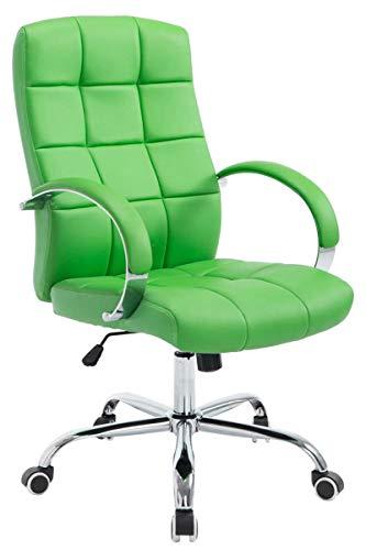 Silla de Oficina Mikos en Cuero Sintético I Silla Ejecutiva Regulable en Altura I Silla de Escritorio con Ruedas I Color:, Color:Verde Claro