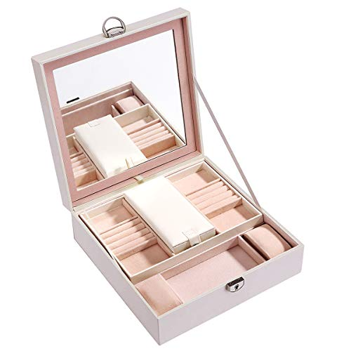 Lrker White Two Tray Wooden Jewelry Collection Lockable Box Full Mirror Lid Ring Necklace Watch Eyewear Glass Lipstick Storage Organizer Holder with Mirrored Travel Case for Men Women Girl Gift