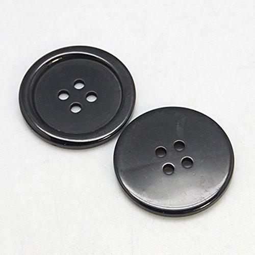 10 Boutons en Plastique 34mm en Acrylique DIY (Noir)