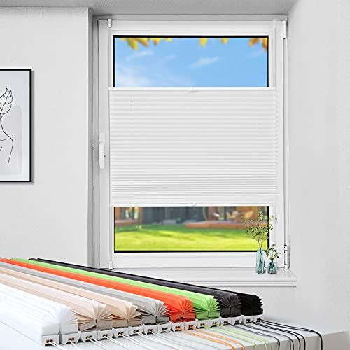 Atlaz Plissee ohne Bohren, Klemmfix Plisseerollo mit Klemmträger, Weiß Crush 35 x 130cm(BxH), Faltrollo Jalousie für Fenster und Tür, Blickdicht, Sichtschutz und Sonnenschutz