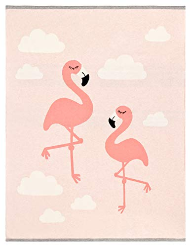 Colcha para Bebé (primavera/verano), Extrasuave y Grande, 80x100 cm, 100% Algodón, Diseño: flamencos, Color: Rosa, manta, manta de bebé, manta para el Carrito.