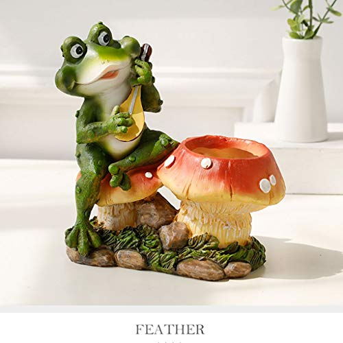 WRZH Decoratiefiguur kikker van kunsthars in landelijke stijl, bloemenvat mini-pot, tuindecoratie, creatief