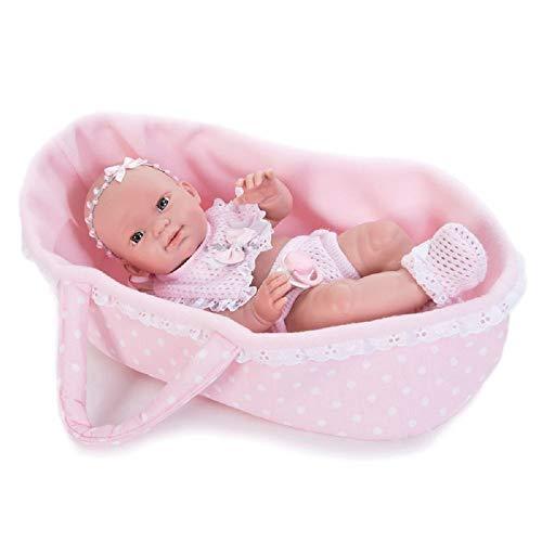 Nines D'oniel - Bambolotto 35cm, port enfant rosa con fantasia a pois bianchi, pigiama a due pezzi in lana rosa con ricami bianchi
