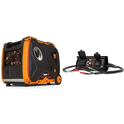 WEN 56380i Super Quiet 3800-Watt Portable Inverter Generator with Fuel Shut-Off and Electric Start & GNA50i 50-Amp 6000-Watt Parallel Connection Kit for Inverter Generators, Black