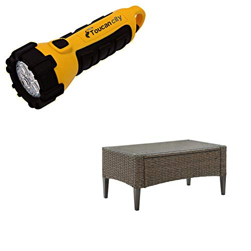 Toucan City LED Flashlight and CROSLEY FURNITURE Rockport Wicker Outdoor Coffee Table CO7162-LB
