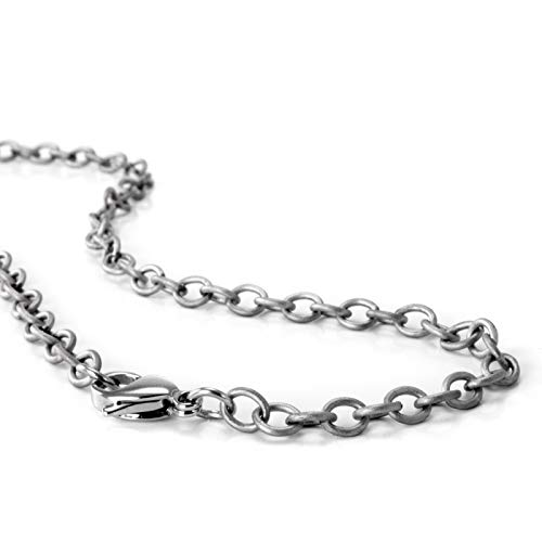 Women's or Men's Light Titanium Hypoallergenic Chain, for Sensitive Skin, Elegant and Safe (22 inches 3 mm Thick)
