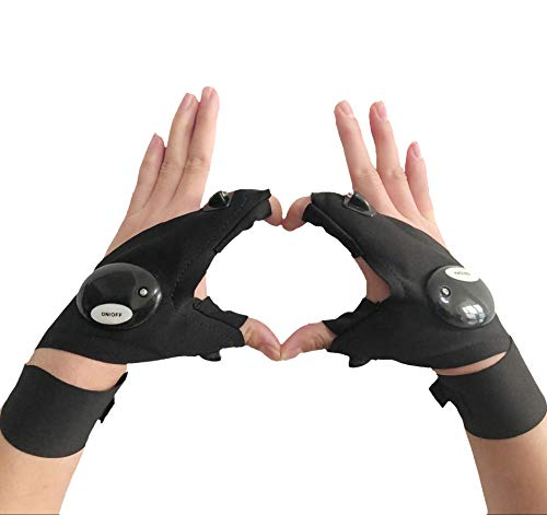 Coroler Cool Fingerless LED Flashlight Gloves for Repairing,Working in Darkness Places, Fishing, Camping, Hiking and Outdoor Activities (Right +Left Hand)