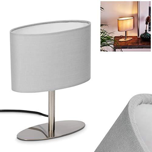 Tischleuchte Mavulu, Nachttischlampe aus Metall in Nickel, 1-flammige Tischlampe mit grauen Stoffschirm, 1 x E27 max. 9 Watt, An-/Ausschalter am Kabel, für LED Leuchtmittel geeignet