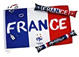 Kit du Supporter FFF - Drapeau Lunettes Maquillage sifflet - 2 étoiles - Collection Officielle Equipe de France de Football -