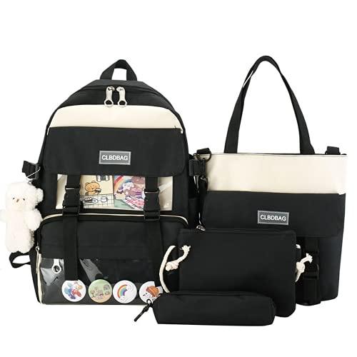 4Pcs Canvas School Backpack Combo Set with Kawaii Teddy Bear Pendant Handle Shoulder Tote Bag Laptop Schoolbag for Students (Black)