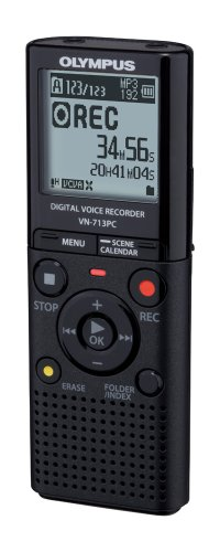 Olympus VN-713PC Diktiergerät (4 GB Speicher, Micro SD-Kartenslot, USB-Anschluss, inkl. Batterien, Stereo Kopfhörer, Tasche)