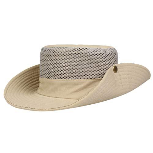 DIOMOR Unisex Classic Mesh Breathable Foldable Cowboy Cap Floppy Sun Hat Wide Brim Bucket Hat Packable Beach Cap Khaki