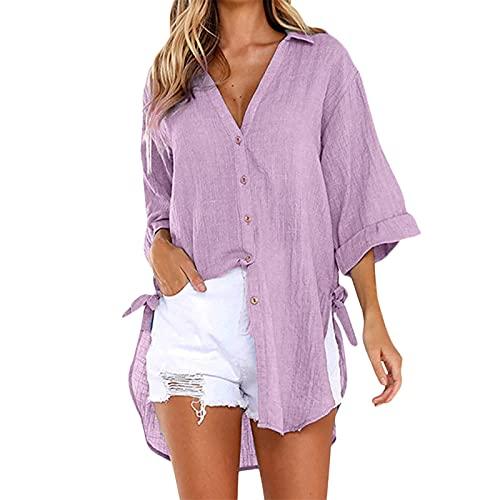 Julhold Blusa para mujer, manga tres cuartos, botón suelto, camiseta casual