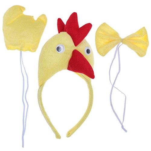 PRETYZOOM 3pcs Disfraz de Pollito para Niños Conjunto de Diadema con Orejas Animal Cola y Pajarita Traje de Costume para Fiesta (Amarillo)