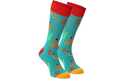 Unabux Socke - Banana Planation - Socken petrol mit lustigem Bananen-Motiv (36-40)