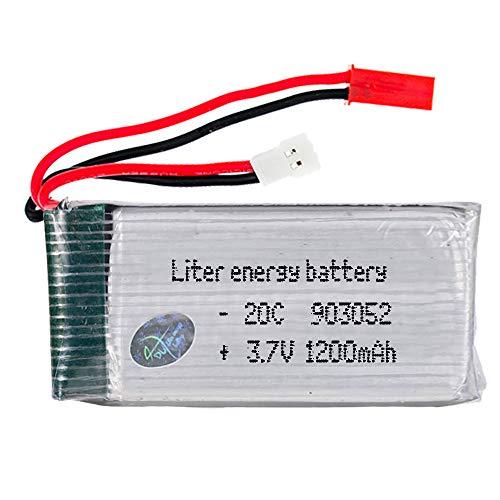 DronePost Batería LiPo 3.7V 1200mAh 4.44Wh 20C 903052 51005 JST 2P RC Drone Radiocontrol Aviones Coches 57x27x10mm (3.7V|FB|1200mAh|903052)