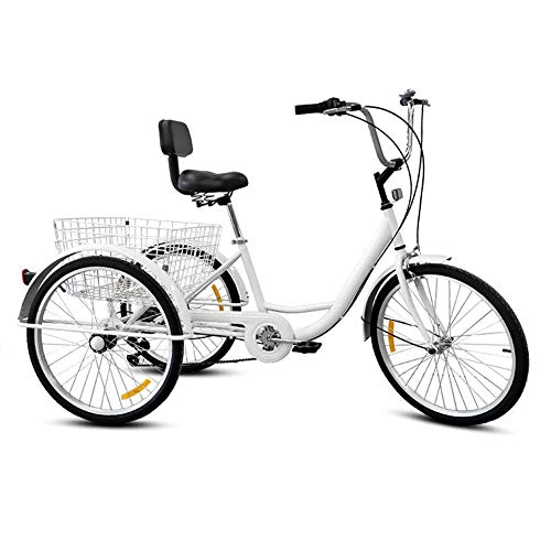 DNNAL Triciclo Adulto Triciclo de Bicicleta de Tres Ruedas Triciclo de Pedal de Bicicleta con Cesta de Compras para Adultos, Ancianos, Unisex,Blanco
