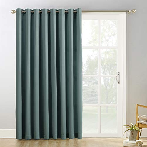 """Sun Zero Easton Extra-Wide Blackout Sliding Patio Door Curtain Panel with Pull Wand, 100"""" x 84"""", Mineral (Single Panel)"""