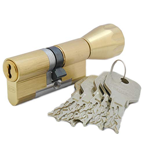 EVVA 4KS Hochsicherheits-Knaufzylinder 31/31K inkl. 5 Schlüssel, Messing poliert, 4-Kurven Technologie, Patentschutz bis 2035, alle Längen von 30/30K bis 60/60K auswählbar (K = Knaufseite/Innenseite)