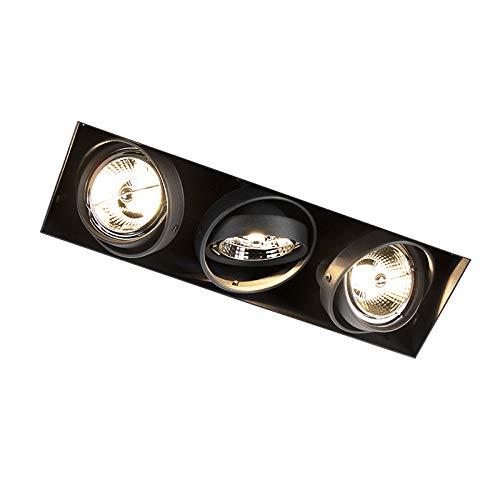 QAZQA Faretto da incasso oneon trimless 70 - Moderno - Acciaio - Nero - Allungato Max. 3 x 50