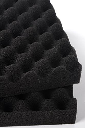 LINECY防音シート壁吸音材防音材25×25×5cm両面テープ付属消音騒音防音吸音対策室内装飾楽器ウレタンフォーム吸音材質ポリウレタン(波型,黒,12枚入)