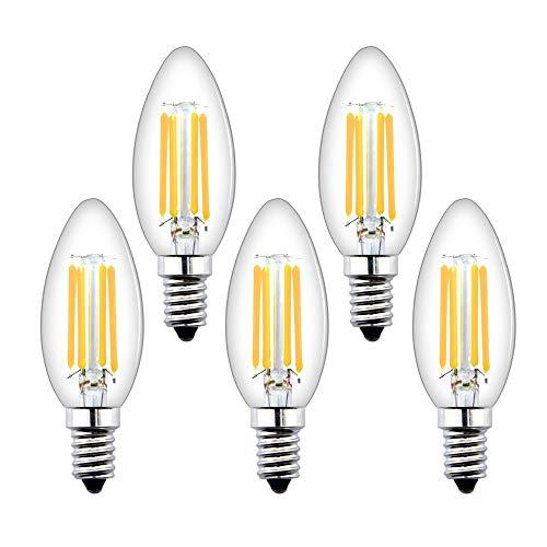 Bonlux E14 Lampadine a Candela LED Dimmerabili C35 Lampadine a Vite Piccola Edison 4W,Lampadine Filamento LED E14 SES Lampadine a Vintage Bianco Caldo 2700K,Lampadine Alogene E14 Sostituzione 40W(5pz)