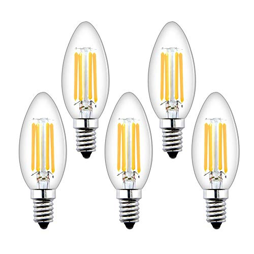Bonlux E14 Lampadine a Candela LED Dimmerabili Lampadine a Vite Piccola Edison 4W,Lampadine Filamento LED E14 SES Lampadine a Vintage Bianco Caldo 2700K,Lampadine Alogene E14 Sostituzione 40W(5pz)