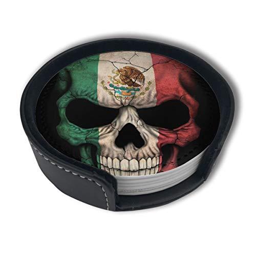 BJAMAJ Untersetzer mit mexikanischer Flagge, Totenkopf-Motiv, aus hochwertigem PU-Leder, rund, mit Halterungen, geeignet für Zuhause und Küche, 6 Stück