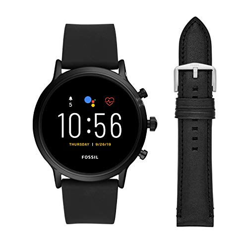Fossil Gen 5 Carlyle HR Heart Rate Stainless Steel and Silicone Touchscreen Smartwatch, Black & 22mm Leather Watch Band, Black