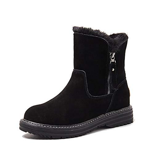 Botas de nieve de ante mate, de piel para mujer, con cremallera, suela gruesa, para otoño e invierno, botas cortas gruesas, botas de algodón de terciopelo, color negro, 35