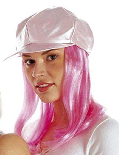 Mondial-Fete - Casquette Vinyle Rose avec Cheveux