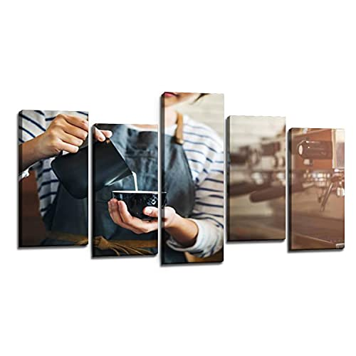 Barista Prepare Coffee Working Order Concept Canvas Wall Art Modern Decorative Painting For Living Room Bedroom Office Festival Gift Choice 5 Panel