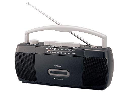 コイズミ ステレオラジカセ AM/FM ワイドFM対応 スリム ブラック SAD-1223/K