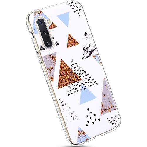 Ysimee Compatible avec Samsung Galaxy Note 10 Coque Marbre Motif Silicone Texture de Pierre Géométrique Marble Case Ultra-Mince Flexible Gel Coque de Téléphone Anti-Choc Étui de Protecteur,Marbre#18