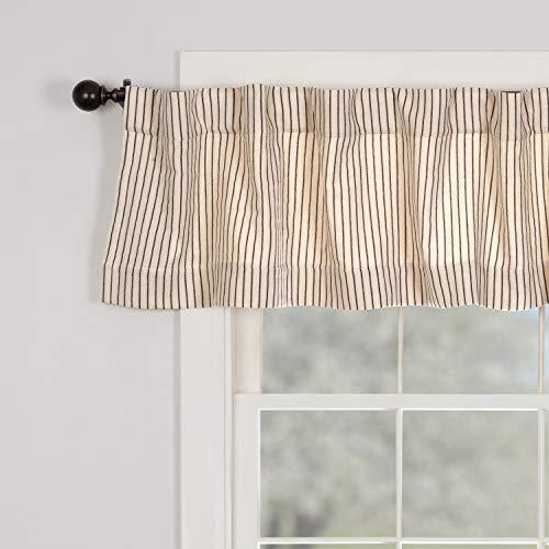 "Katie's Vintage Stripe Valance Curtain, 72"" Wide x 16"" Long, Urban Rustic Farmhouse Boho Style Kitchen or Bath Curtain, Natural Cream w/ Black Stripes"