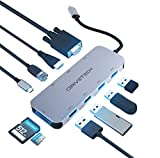 USB C Hub Multiport Adapter - iDriveTech 10 in 1. 4x USB Ports, HDMI and VGA ports, SD/TF Card Reader, Gigabit Ethernet port, USB-C port. Compatible MacBook Pro and more Type C Devices (Thunderbolt 3)