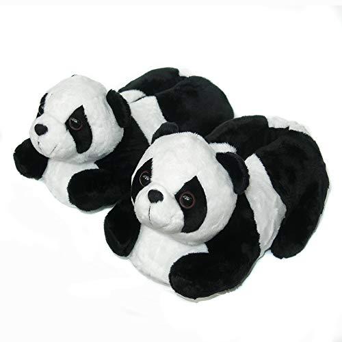 Onmygogo Panda de inverno felpudo para ambientes internos e de vaca para mulheres adultas, homens, meninos, meninas e crianças, Black Panda, 3-5 Big Kid